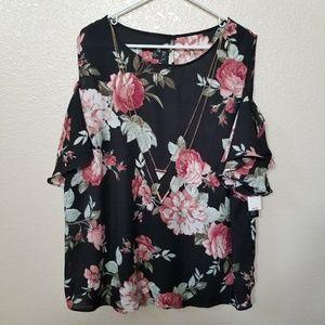 BCX Black Floral Cold Shoulder Blouse W/Necklace